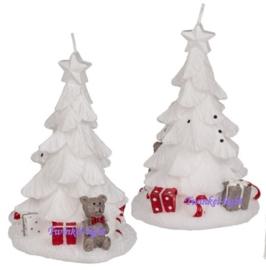 Kaars Witte Kerstboom met Beer en Kadootjes
