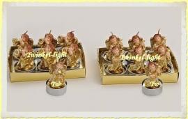 Theelicht/Waxinelicht Luxe antiek Gouden engel met muziekinstrument