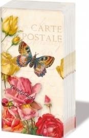 Papieren zakdoekjes Vintage Butterfly and roses nr. 1