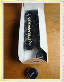 Theelicht/Waxinelicht zwart met zachte opium geur