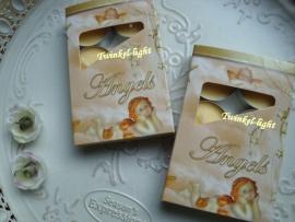 Theelicht/waxinelicht met geur en Engel opdruk op doosje