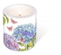Kaars/Windlicht Hortensia's met vlinders