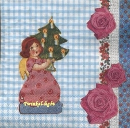 Servetten Vintage Engel nr. 6 met Kerstboom en Rozen