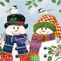 Servetten Sneeuwpop met vogel