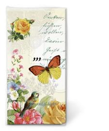 Papieren zakdoekjes Vintage Butterfly and roses nr. 2