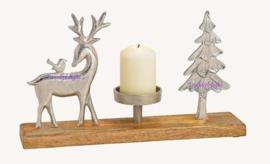 Kaarsenhouder met hert, vogel en boom