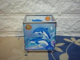 Dolfijnen Theelicht/Waxinelichthouder Vierkant