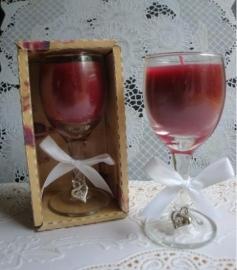 Rode Wijnglas kaars UITVERKOCHT!