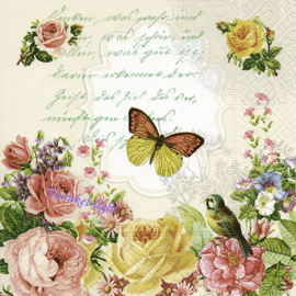 Servetten Vintage Butterfly and roses