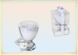 Kaars in glas met tule en rozendeco