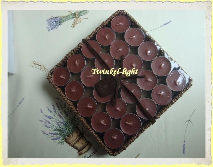 Theelicht/Waxinelicht met Koffiegeur in mand van zeegras 50 stuks