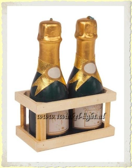Kaars Champagne flesjes in kratje UITVERKOCHT!
