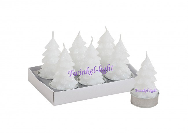 Maxi theelicht/Waxinelicht Kerstboom met glitter