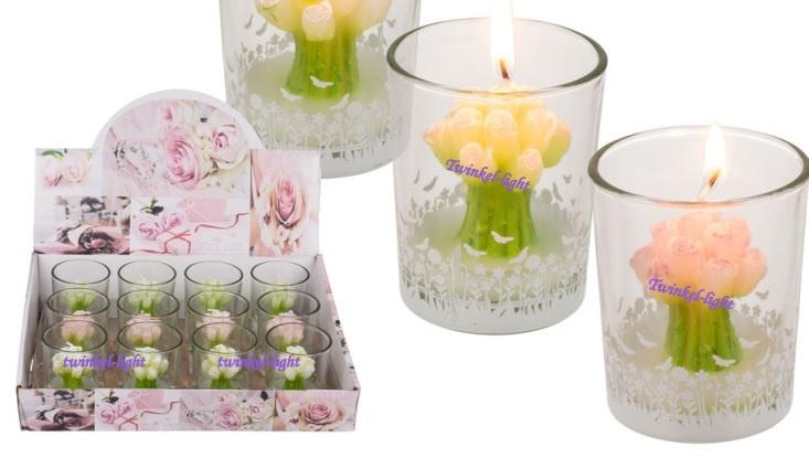 Kaars in glas Boeketje Roosjes met vlindertjes afb. op het glaasje