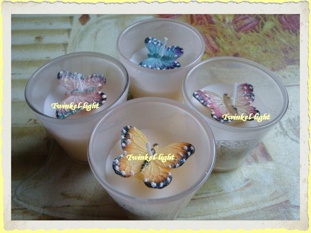 Kaars in glas met vintage Vlinder