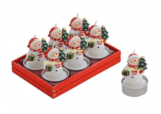 Theelicht/Waxinelicht Sneeuwpop