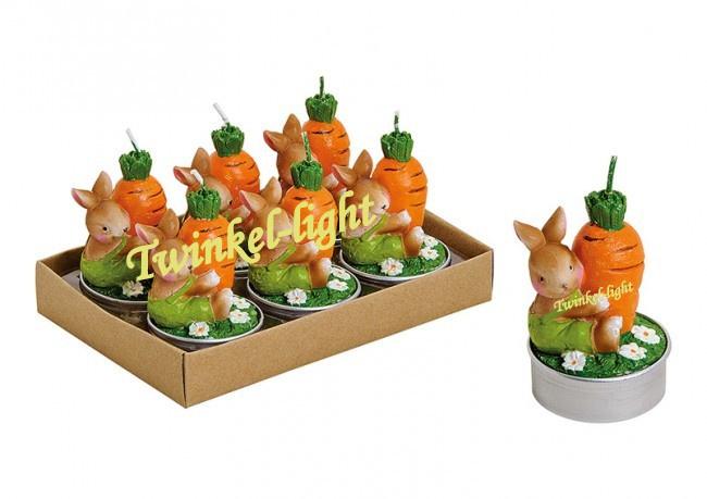 Theelicht/Waxinelicht  Konijn/Haas met wortel en bloemen