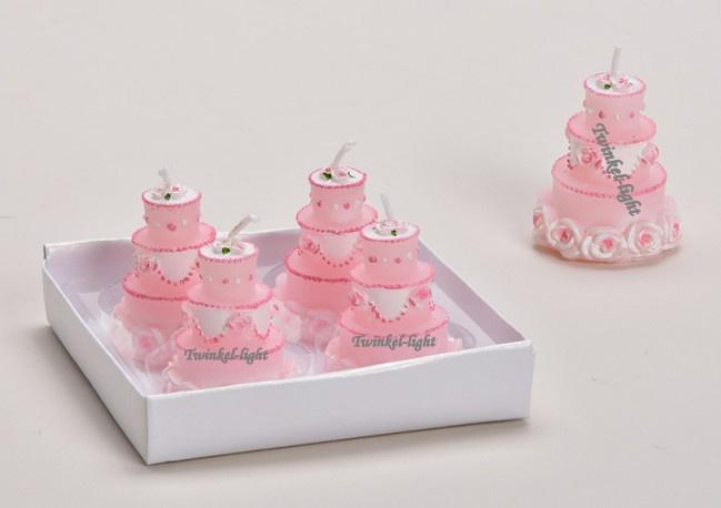 Mini kaarsje Weddingcake in rozewit