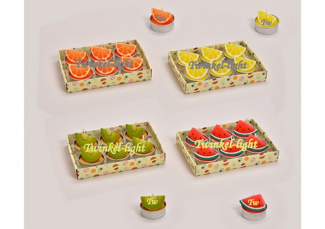 Theelicht/Waxinelicht Vruchten/Fruit in 4 soorten