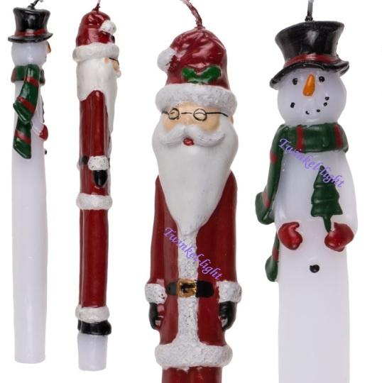 Lange kaarsen m. Kerstman en Sneeuwpop 2 stuks in verp.