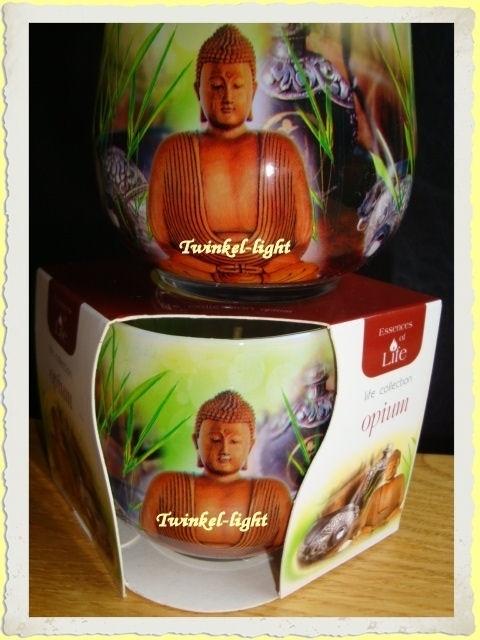 Geurkaars in glas Boeddha opium