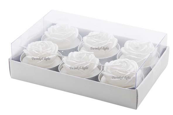 Theelicht/Waxinelicht Witte roos