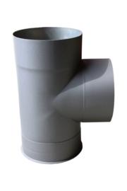 EW/150 Kachelpijp T-stuk 90 gr + deksel Kleur: antraciet #DUN600009