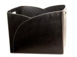 """Leder houttas vierkant """"Umschlag"""" zwart #98-236"""