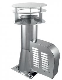 Rookgasventilator met vierkante basis en kap Ø200mm GCKD200-CH