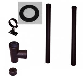 Pelletkachelpijp Zwart aansluitmaterialen 80mm