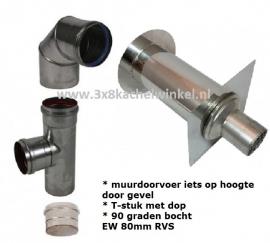 Tukker Pelletkachelpijp Muurdoorvoer Set 1 RVS 80mm