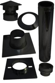 Complete dakdoorvoer pelletset 80 mm voor plat dak bitumen - zwart