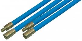 Flexibele veegstok Blauw met schroefdraad 120cm lang extra professioneel