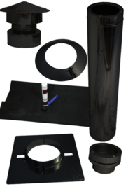 Complete set dubbelwandige dakdoorvoer 80 mm voor plat dak kuntstof, EPDM - zwart