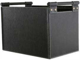 Leder houttas vierkant - zwart #98-226