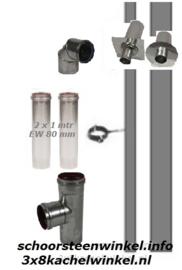 Pelletkachelpijp RVS aansluitmaterialen 80mm