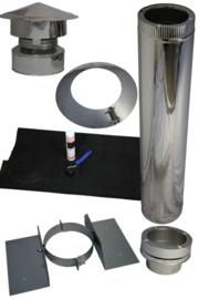 Blokhutknaller Complete set Dubbelwandig rookkanaal 150 mm voor plat- schuin of kunststof dak, EPDM