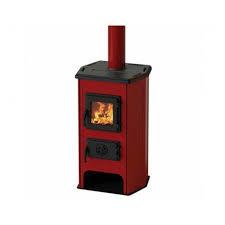 HIT  houtkachel in kleur rood geëmailleerd 5-7kw