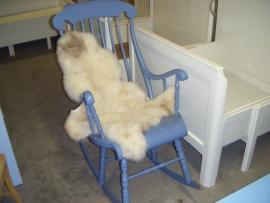 Schitterende Zweedse blauw/grijze schommelstoel