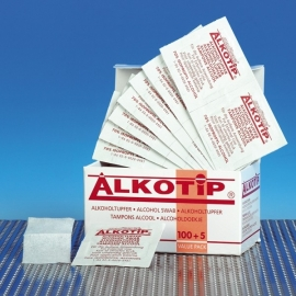 70% Isopropyl Alcohol Doekjes 3 x 6,5 cm. Doos 100 st.
