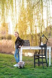 Bureautafel landelijke stijl met laden en gedraaide poten