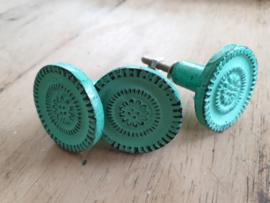 Groene  old look metal meubelknop