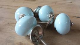 Ronde lichtblauwe porseleinen meubelknop