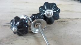 Zwart porseleinen bloem meubelknop groot
