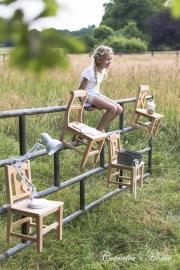 Massief houten kinderstoeltje landelijke stijl