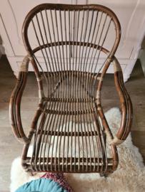 Rotan fauteuil antiek bruin