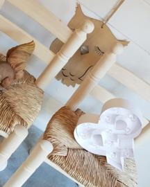 Kinderstoeltje Rosa blank hout met biezen zitting