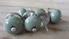 Kleine ronde porseleinen meubelknop olijfgroen