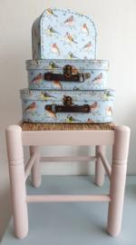 Kofferset Sass & Belle tuinvogels lichtblauw