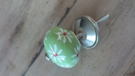 Groenen porseleinen meubelknop met bloemprintje